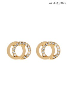 Accessorize Gold Linked Stud Earrings With Swarovski® Crystals