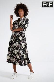 F&F Multi Black Stencil Floral Shirt Dress