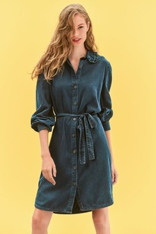 Frill Collar Belted Dress