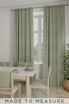 Leaf Juniper Green Made To Measure Curtains