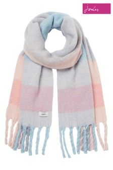 Joules Pink Edgworth Chunky Check Scarf