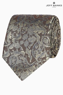 Jeff Banks Yellow Baroque Floral Design Silk Tie