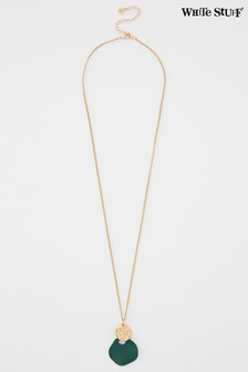 White Stuff Green Double Drop Necklace