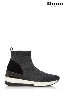 Dune London Engel Pewter Mid Wedge Sock Trainers