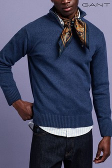 GANT Blue Casual Cotton Half Zip Jumper