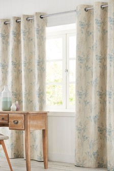 Sprig Jacquard Eyelet Curtains