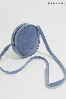 Warehouse Blue Suede Mini Circle Bag