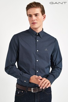 GANT Blue Tech Prep Broadcloth Micro Print Regular Shirt