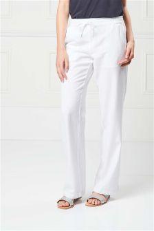 Linen Blend Parallel Trousers