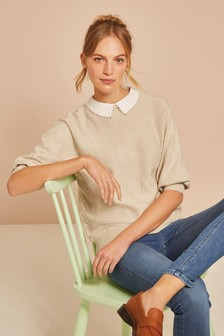 Pearl Effect Trim Collar Jumper