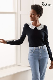 Boden Blue Harewood Collared Jumper