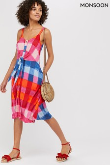 Monsoon Pink Chessie Check Print Jersey Dress