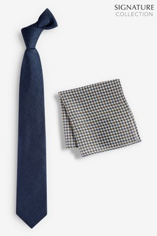 Signature Tie With Check Pocket Square Set