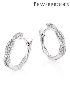 Beaverbrooks Silver Cubic Zirconia Twist Hoop Earrings