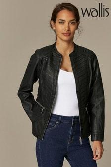 Wallis Gothic-Jacke mit plissierter Vorderseite in Kurzgrößen, schwarz
