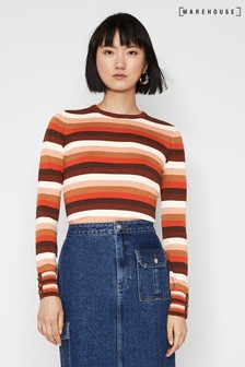 Warehouse Brown Stripe Button Cuff Jumper