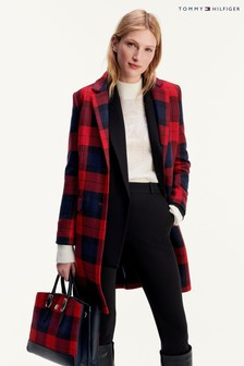 Tommy Hilfiger Red Wool Blend Check Classic Coat