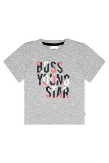 Boss Kidswear Baby Boys Grey Cotton T-Shirt