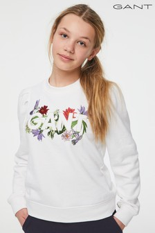 GANT Teen Girls White Flower Logo Crew Neck Sweat Top