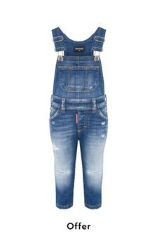 Baby Boys Blue Cotton Dungarees