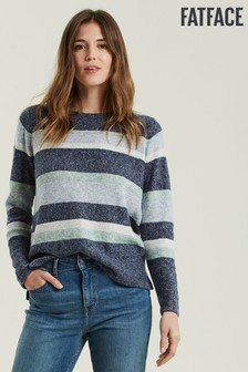 FatFace Blue Hazel Textured Stripe Jumper