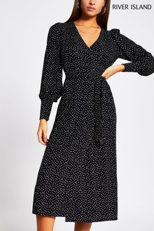 River Island Black V-Neck Wrap Midi Dress