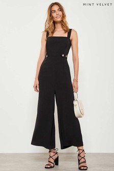 Mint Velvet Black Cropped Leg Jumpsuit