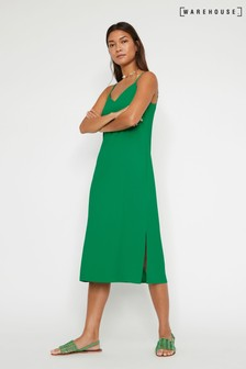 Warehouse Green Cross Back Midi Cami Dress