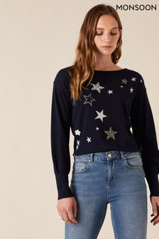 Monsoon Sparkle Star Knit Jumper With Recycled Fabric