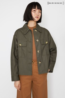 Warehouse Green Boxy Utility Jacket