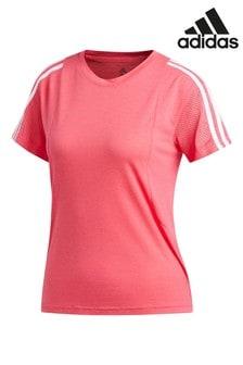 adidas Pink 3 Stripe Mesh Sleeve T-Shirt