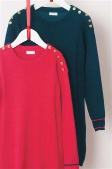 Sukienka zdobiona guzikami (3-16 lat)