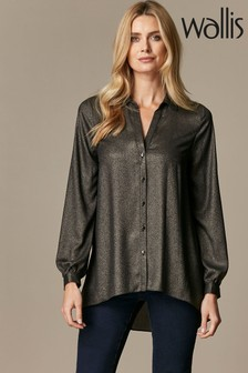 Wallis Black Metallic Longline Shirt
