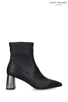 Kurt Geiger London Black Rio Leather Sock Boots