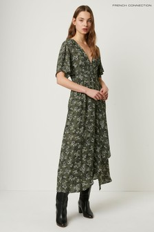 French Connection Green Ansa Crepe Mix Print Maxi Dress