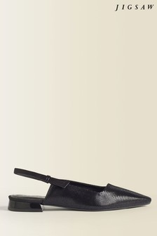 Jigsaw Black Petra Leather Slingback Flat Shoes