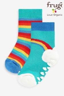 Frugi Organic Cotton Rainbow Non Slip Grippy Socks 2 Pack