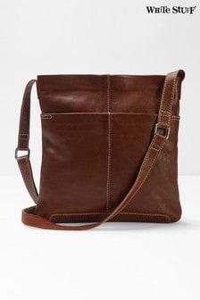 Hnedá kožená kabelka cez telo White Stuff