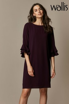 Wallis Purple Double Flute Sleeve Dress