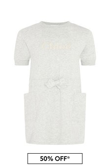 Chloe Kids Girls Grey Cotton Dress