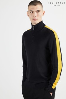 Ted Baker Ofica Half Zip Funnel Neck With Stripe Detail