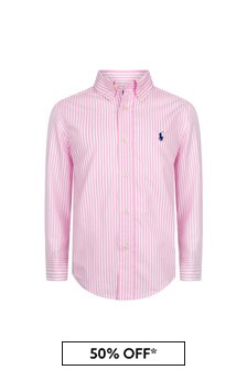 Boys Pink Cotton Shirt