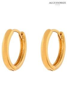 Accessorize Gold Tone Z Plain Huggie Earrings