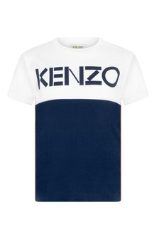 Boys White/Navy Cotton Logo T-Shirt