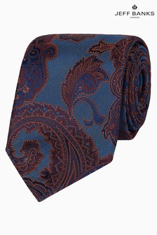 Jeff Banks Blue Bold Paisley Design Silk Tie