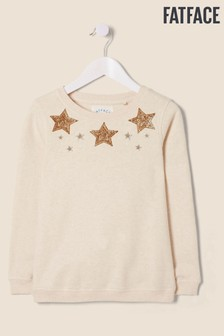 Fatface Natural Sequin Star Crew Neck Sweater