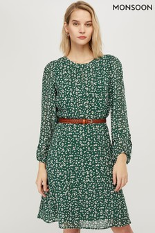 Monsoon Green Marty Print Dress