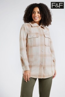 F&F Neutral Check Shacket