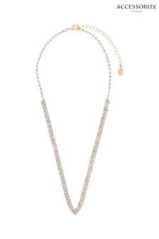 Accessorize Metallic Pave V Mini Collar Necklace