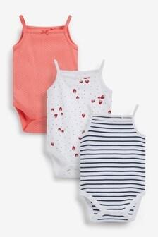3 Pack Strappy Vest Bodysuits (0mths-3yrs)